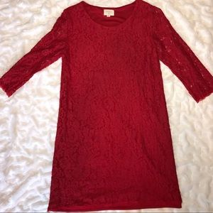 Everly - Red Lace Shift Dress with Sleeves, small